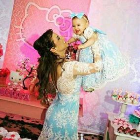 Vestido Tal Mae E Filha Azul Festa Luxo
