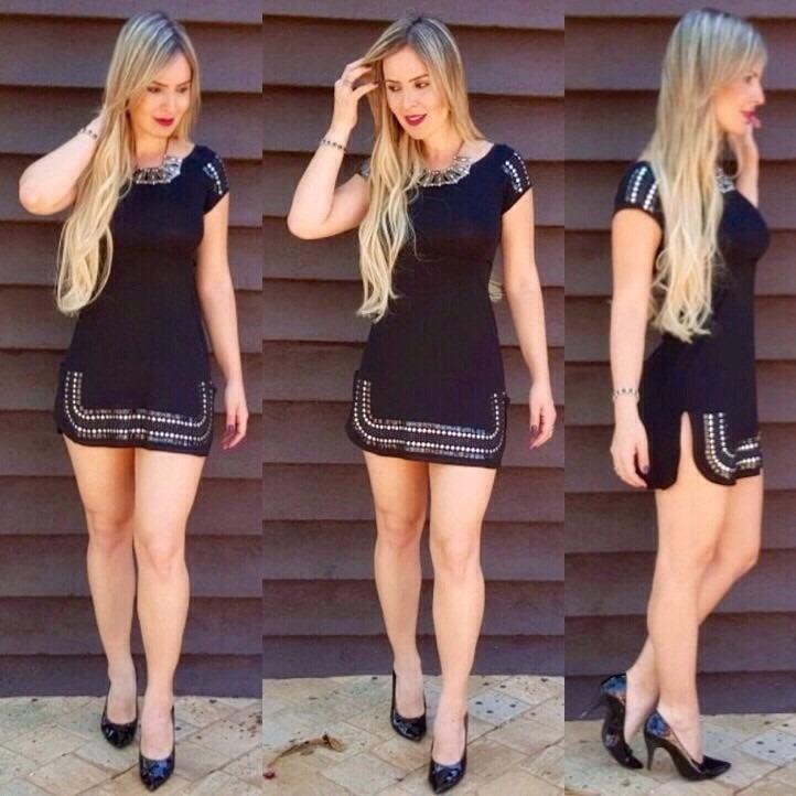 81bdb44866 Vestido Tal Mãe Tal Filha Curto Pedraria Moda Instagram - R  175