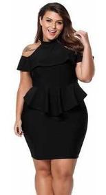 Vestido Talla Extra Corto Color Negro Fiesta Antro