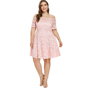 Vestido Rosa Pastel Corto Encaje Vestidos Corto 3xl En