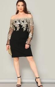 tienda de liquidación nueva selección estilos de moda Vestido Talla Grande Negro Shein Lápiz Malla Bordado 006