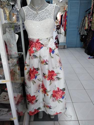 vestido talla junior  falda tafeta flores con talle encaje