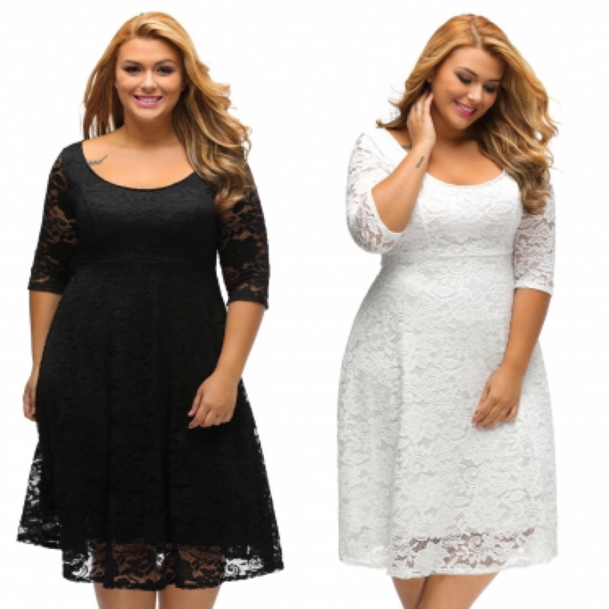 e8588623427 vestido tallas extras blanco negro encaje manga skater moda. Cargando zoom.