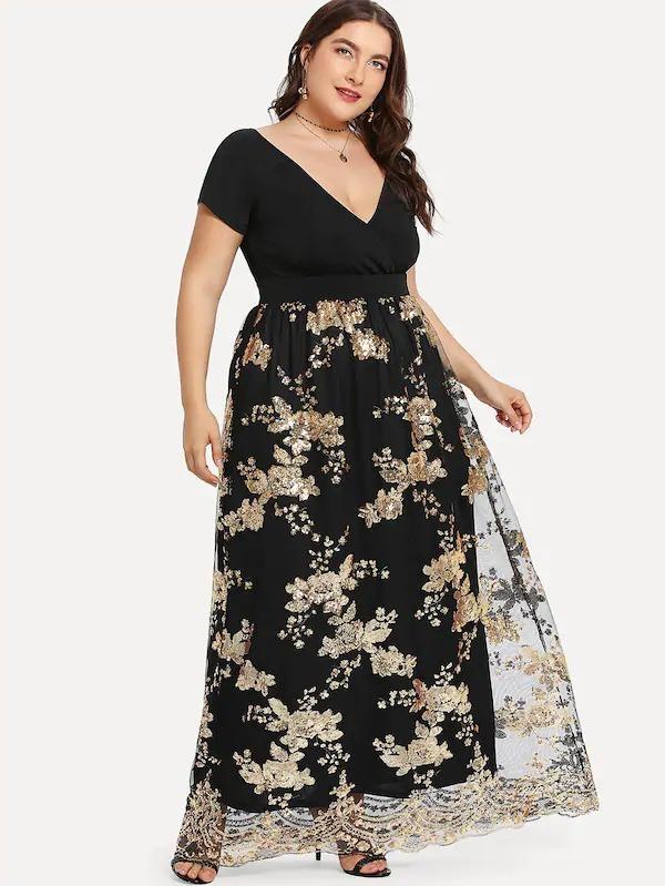 Vestido Tallas Extras Curvy Largo Negro Dorado Lentejuela