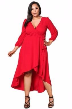 vestido tallas extras grande rojo wrap manga corto largo