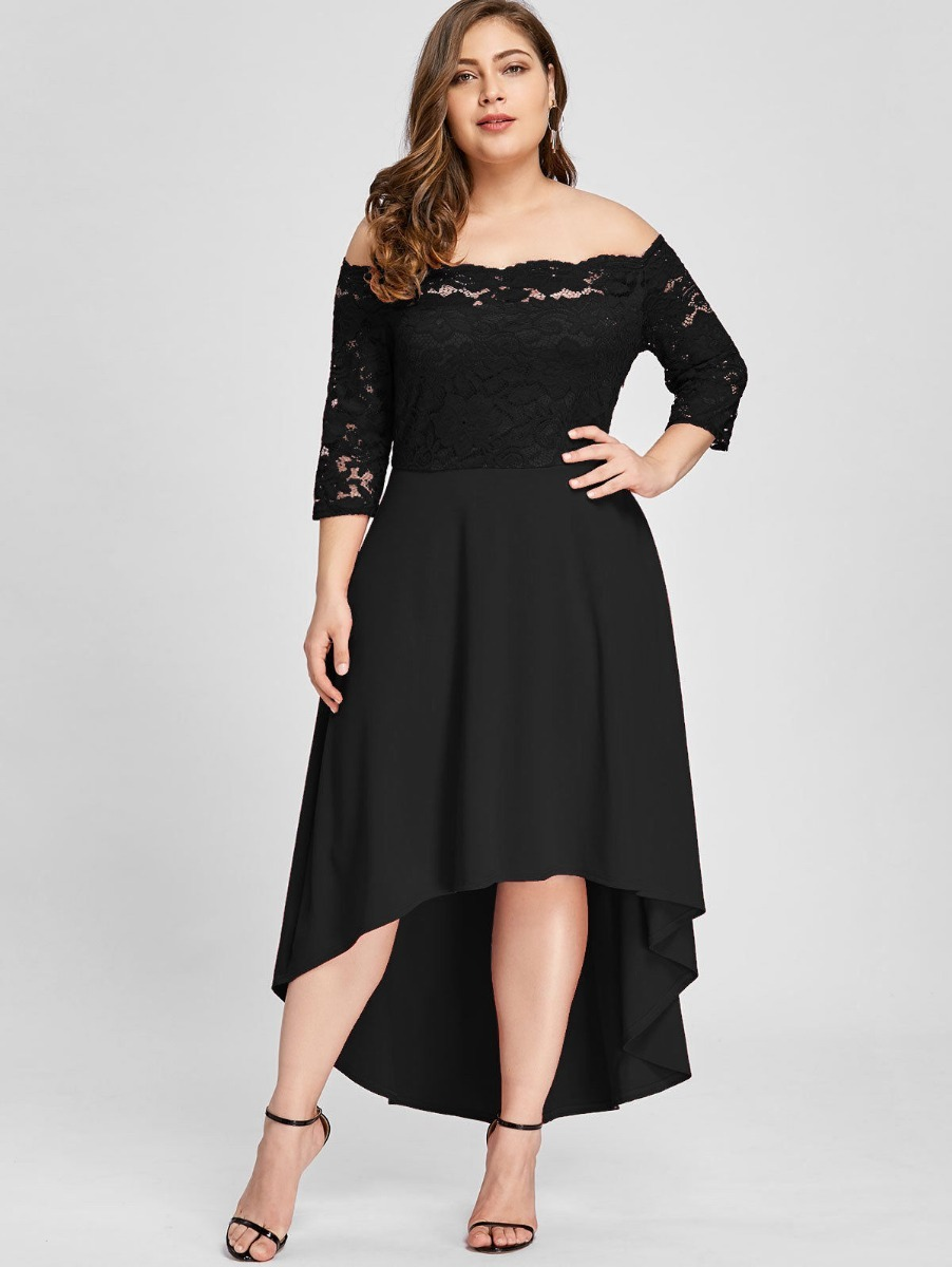 7dc51df613e vestido tallas extras negro encaje corto largo moda fiesta. Cargando zoom.