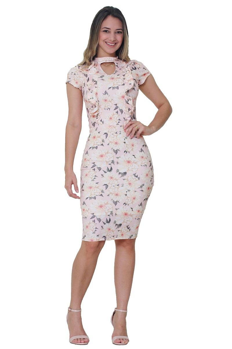 047a60b3e0 vestido tatá martello gola alta florido moda evangélica. Carregando zoom.