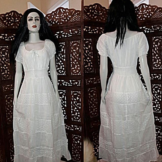 aafc5218c Vestido Tecido Algodão Laise Manga Ciganinha Retro Branco - R$ 379 ...