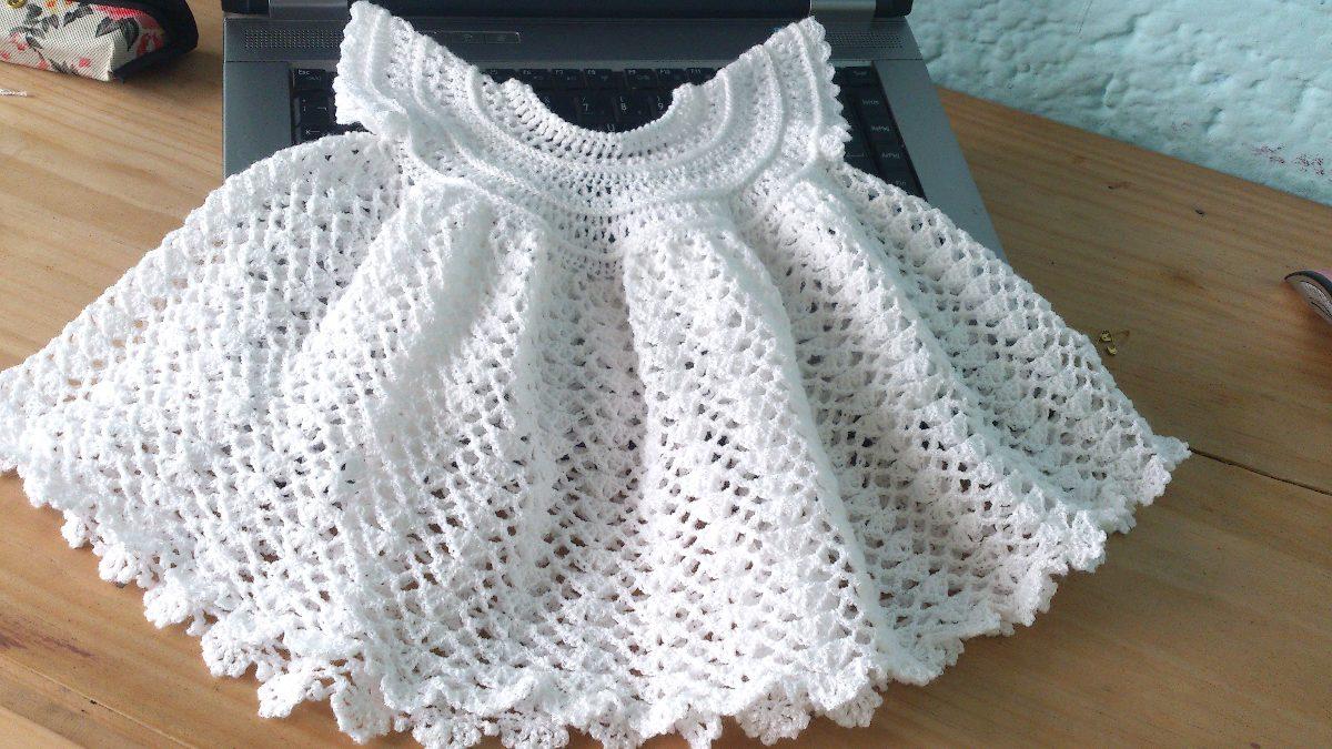 Vestido Tejido A Crochet Para Bebé - $ 199.00 en Mercado Libre