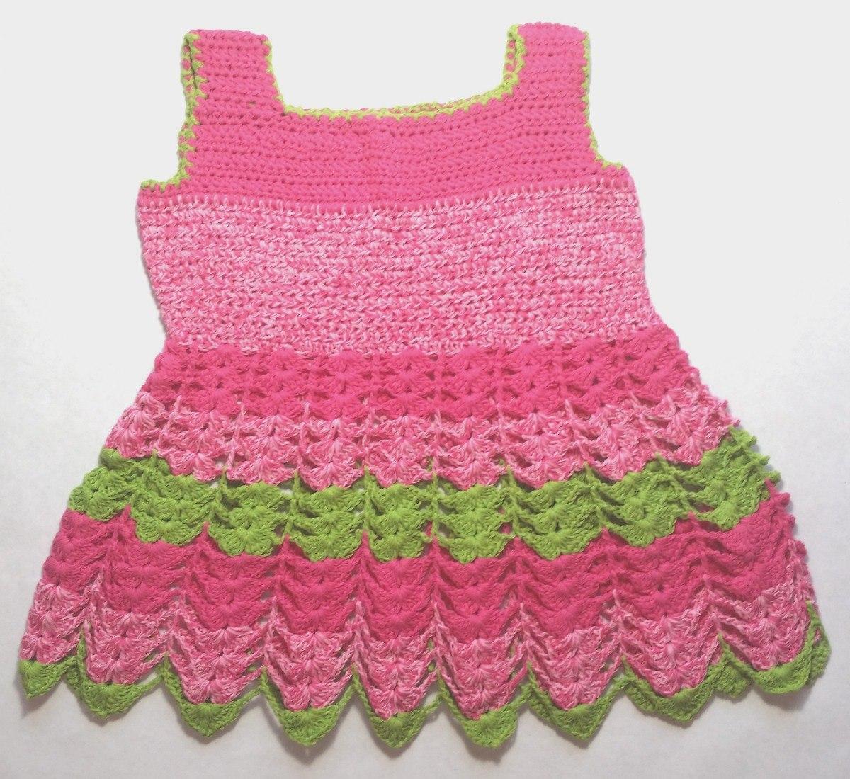 a5bcf5bdf Vestido Tejido A Crochet Para Bebes Niñas De 3-6 Meses - Bs. 39.999 ...