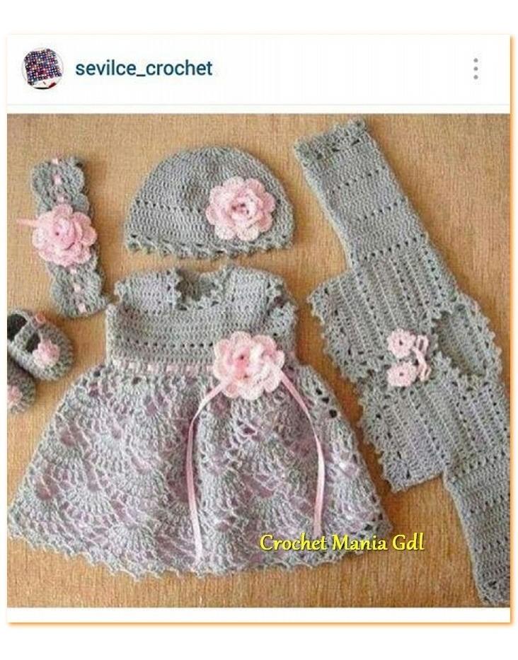 611674e2d Vestido Tejido A Crochet Para Niña Bebe Princesa - $ 700.00 en ...