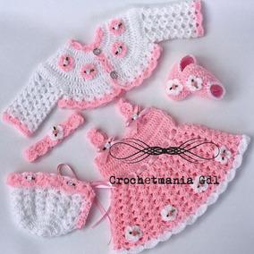 Vestido Tejido A Crochet Para Princesa Bebé Rosa