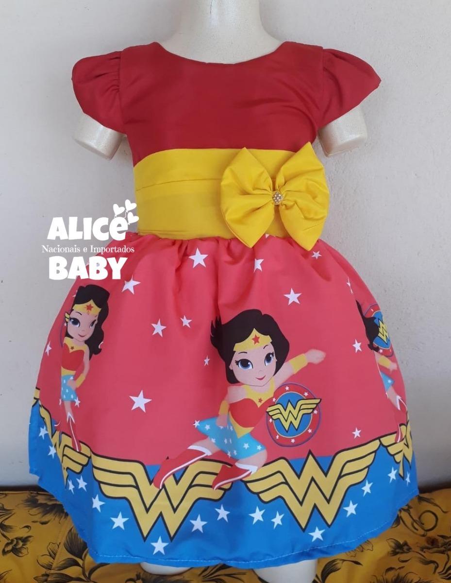 5a33ab3354 vestido temático infantil festa mulher maravilha baby cute. Carregando zoom.