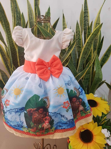 vestido temático  moana adulto luxo