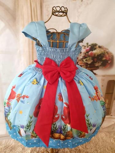 vestido tematico pequena sereia ariel luxo  festa