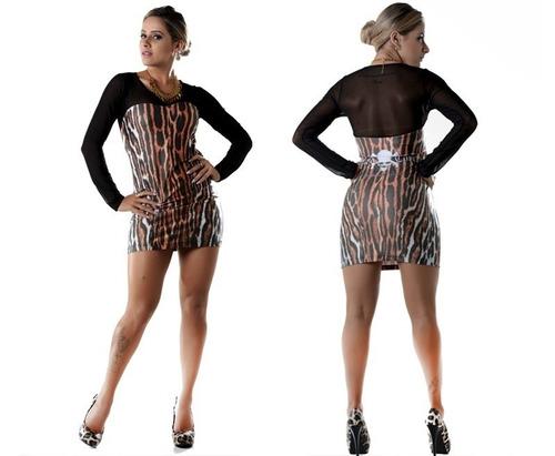vestido tigrado estilo panicat, balada, curto, lipsoul girl