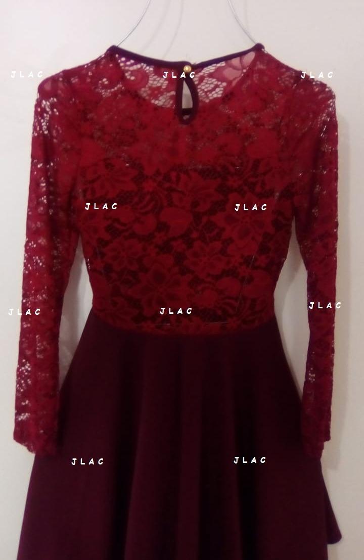 49c6345fe1b5d vestido tinto con encaje manga larga andreomys envío gratis. Cargando zoom.