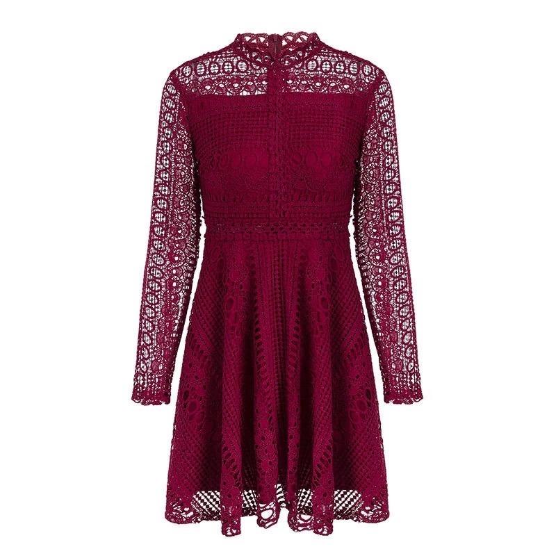d00acea4ace65 vestido tinto de encaje y manga larga cherry pink. Cargando zoom.