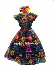 844e58a2ea Vestido Típico Chiapas 6-7 Años 6 Olanes. Incluye Collares