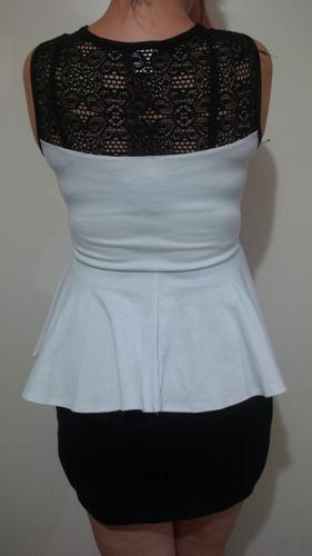 vestido tipo cocktail color negro y blanco talla m