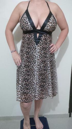 vestido tipo cocktail estampado leopardo talla m