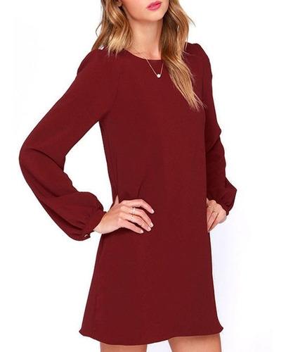 vestido tipo coctel color bordó 78