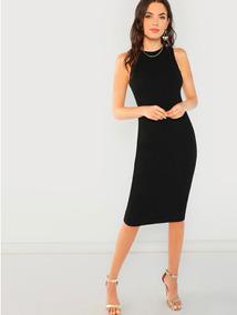 Vestido Tipo Lápiz Color Negro Ajustado Sin Mangas