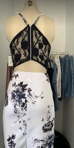 vestido tirantes hueso con flores para fiesta tipo v talla m