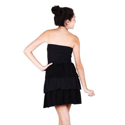 vestido tomara que caia preto com poás