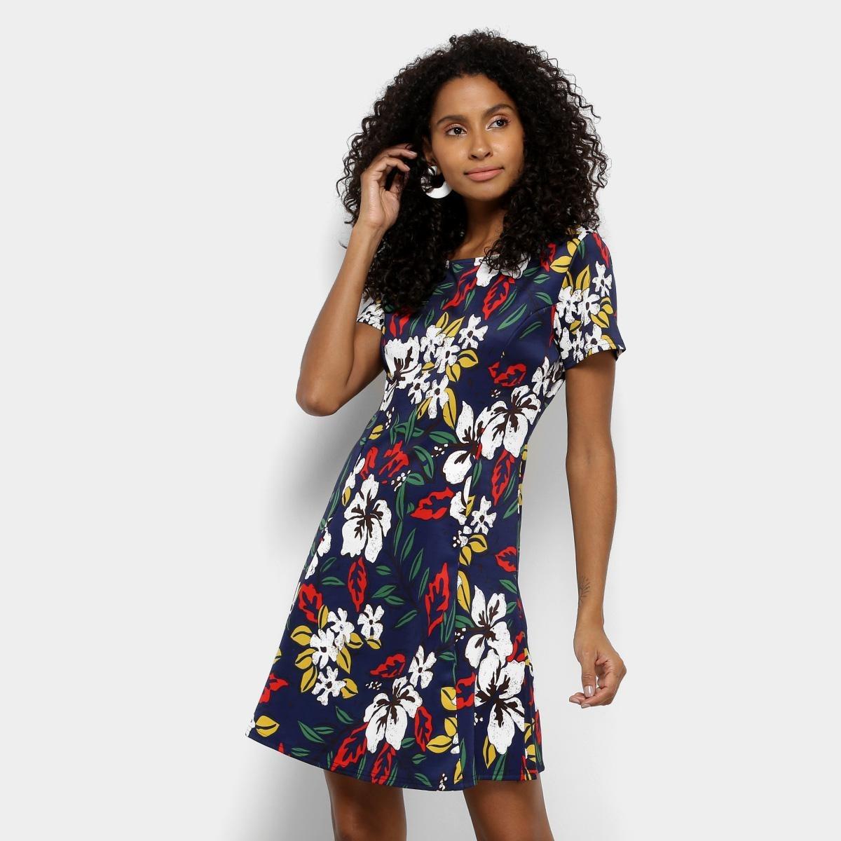 cb8a1d68a vestido top moda evasê curto floral - cor azul. Carregando zoom.