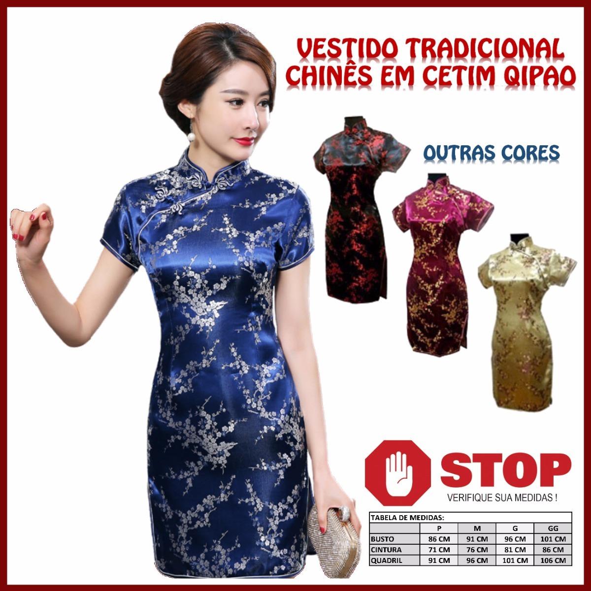 d14d3af2a4 Vestido Tradicional Chinês Cetim Curto Para Festas E Eventos - R ...