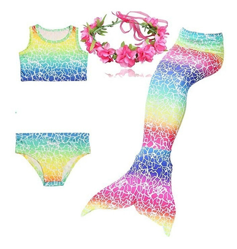 vestido traje baño bikini y cola de sirena 3 piezas u s a