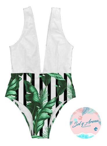 vestido traje de baño  enterizo panti alta hojas palmas