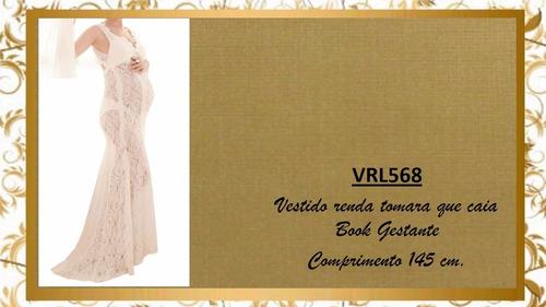 vestido transparente book gestante ensaio grávida vrl568
