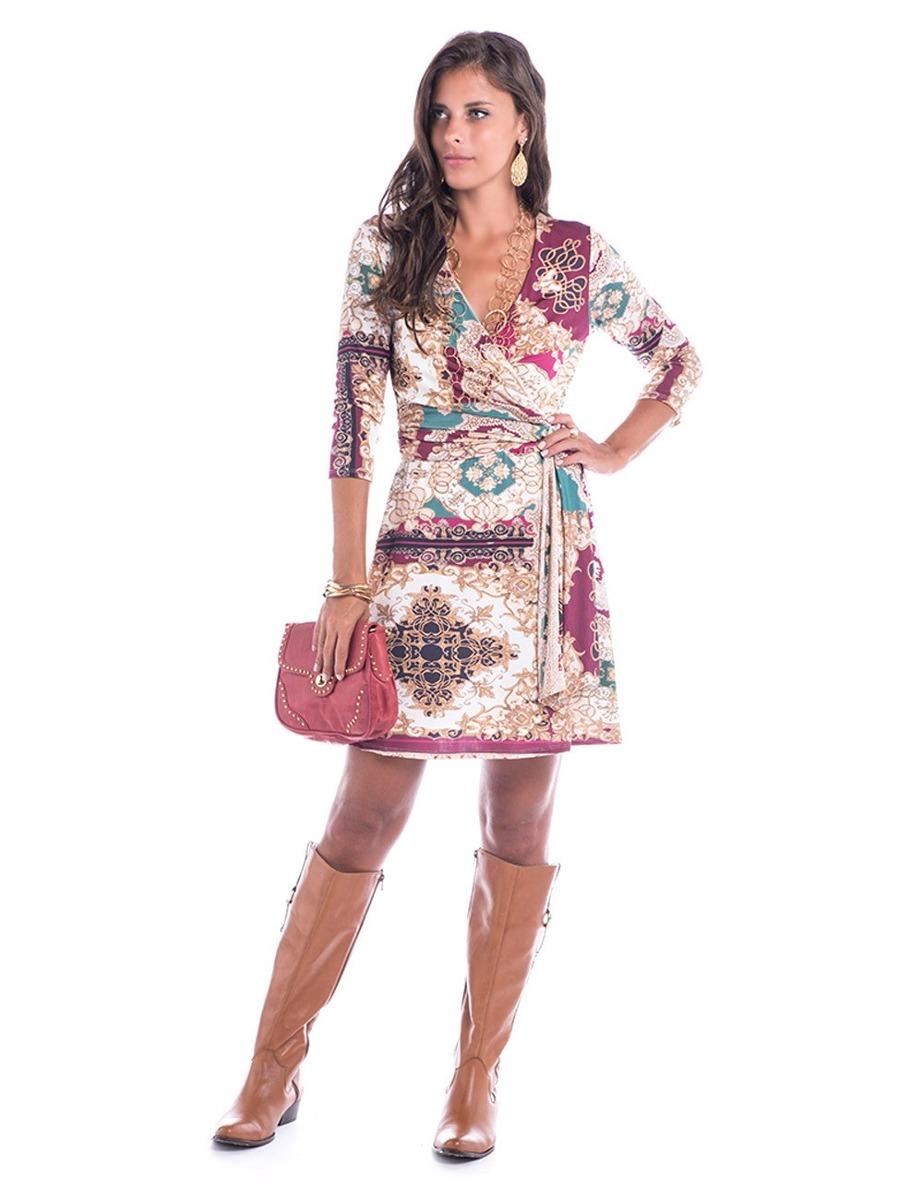 35bcf2731 Vestido Transpassado-estampado-pp - R$ 378,00 em Mercado Livre