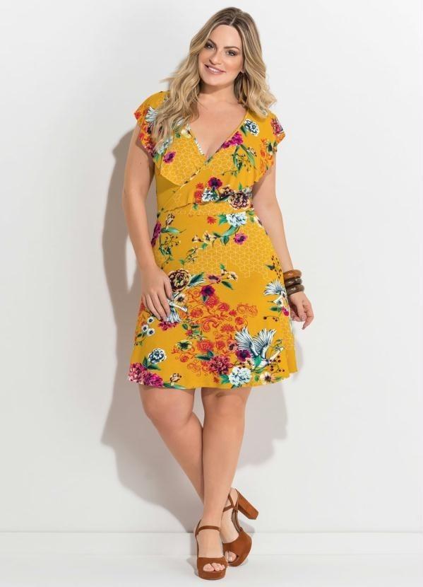 6e8954281 Vestido Transpassado Floral Amarelo Plus Size Casual Festa - R$ 89 ...