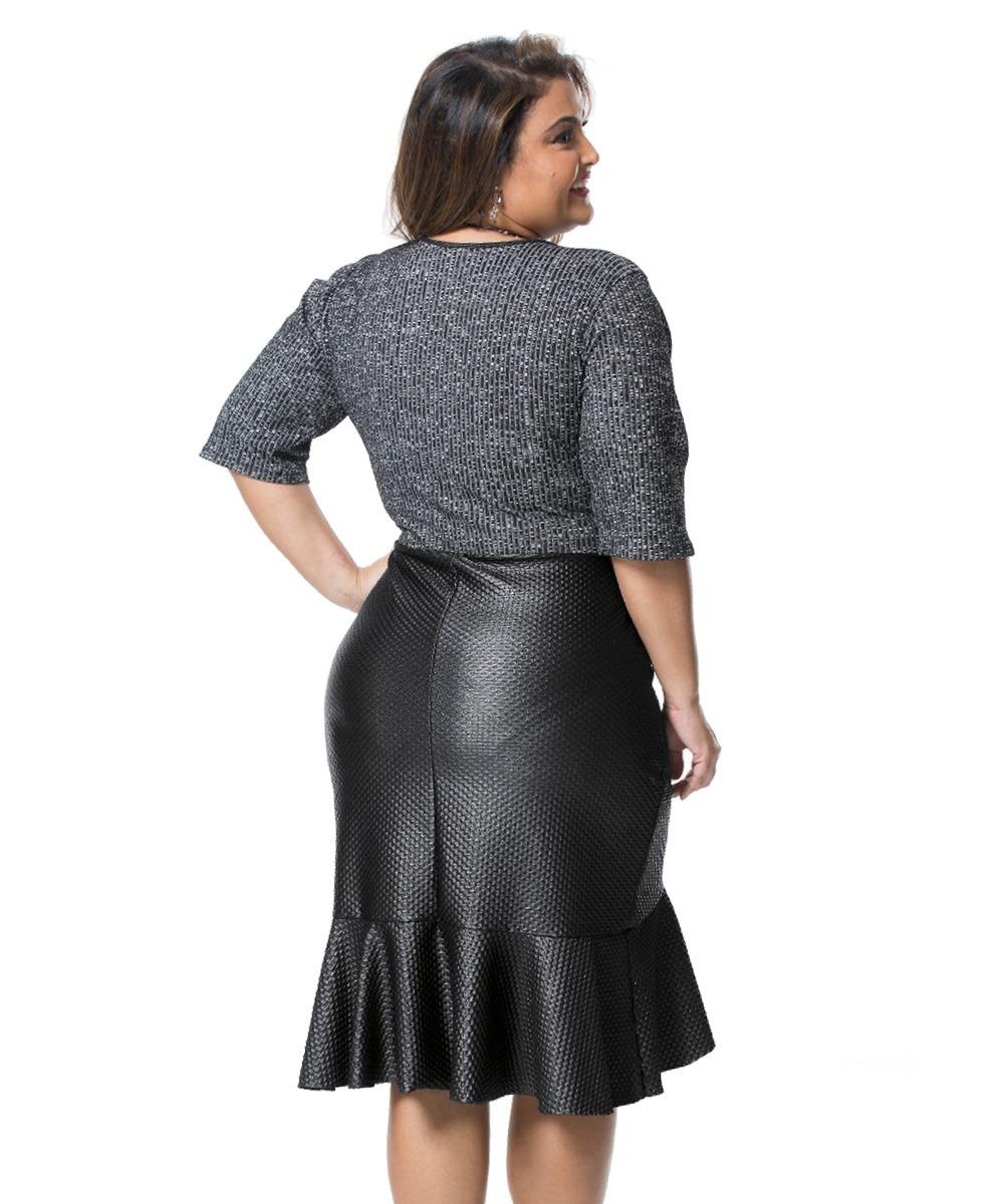 3220064a7 Vestido Transpasse Em Malha Canelada Pus Size - R$ 118,90 em Mercado ...