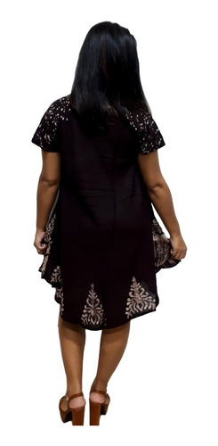 vestido trapézio manga curta indiano plus size boho cód.1306