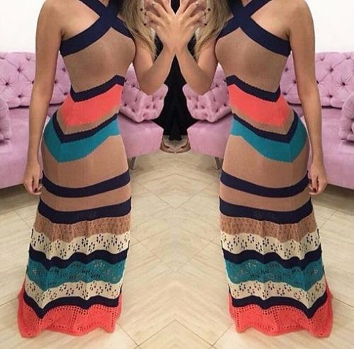 vestido tricô tricot estampa listrado longo roupas femininas