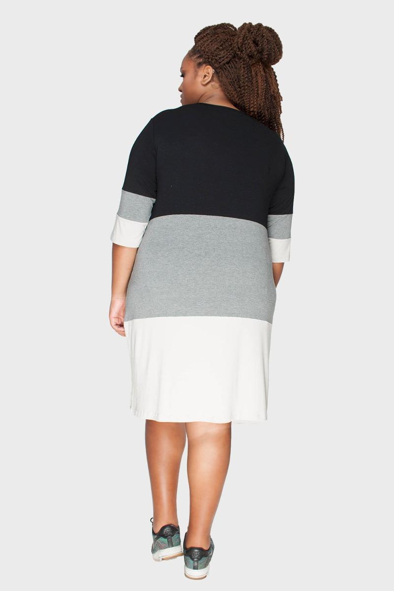 vestido tricolor manga 3 4 plus size areia-56 58. Carregando zoom. 183c49764dd
