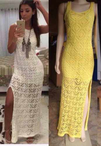 vestido tricot longo feminino
