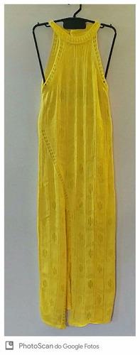 vestido tricot longo feminino trico fenda lateral gola alta