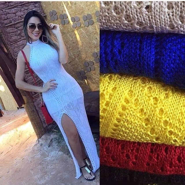 Vestido tricot longo branco mercadolivre