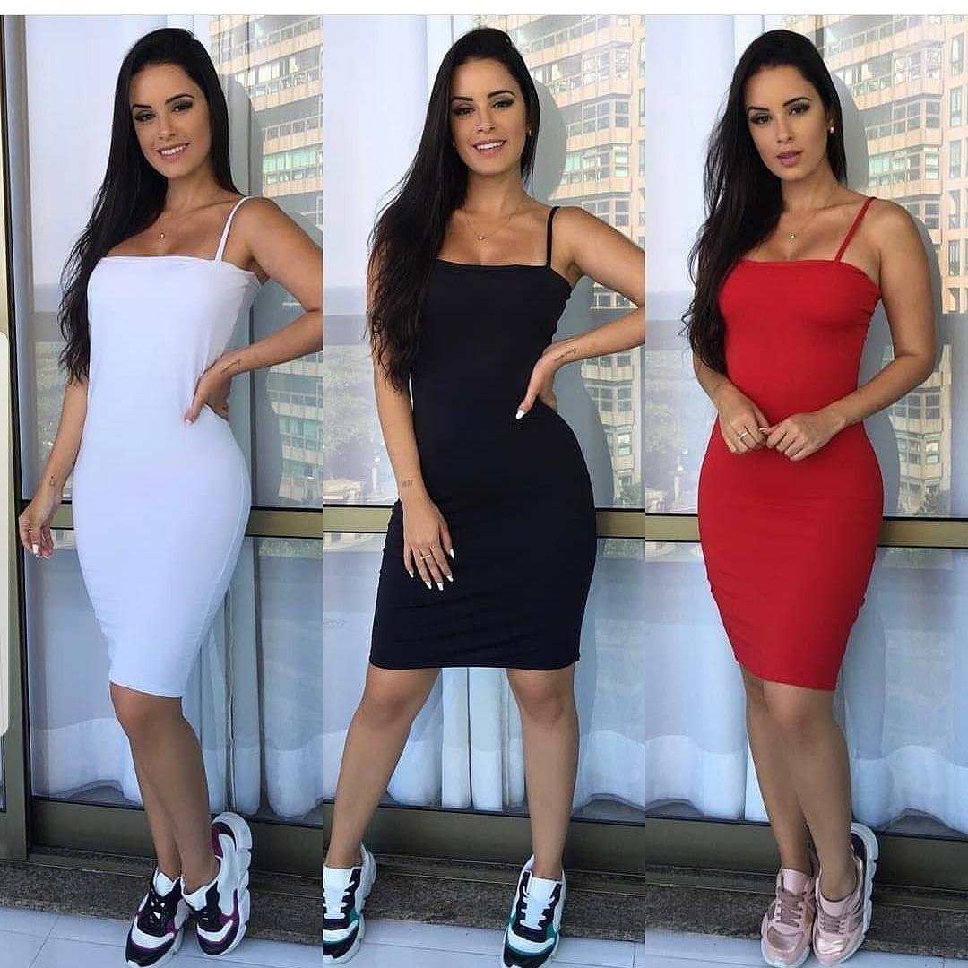 Vestido Tubinho Bicolor Moda Instagram Kylie Jenner Ref 201