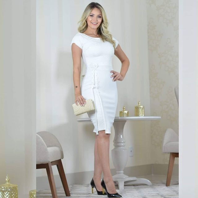 ce35988d5 Vestido Tubinho Bord C/detalhe Maria Amore Moda Evangélica - R$ 300 ...