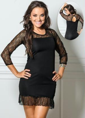 eb8a7c174ce2 Vestido Tubinho Detalhe Renda (preto) - R$ 120,00 em Mercado Livre