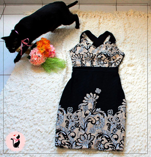 vestido tubinho estampado  ssang bang wool