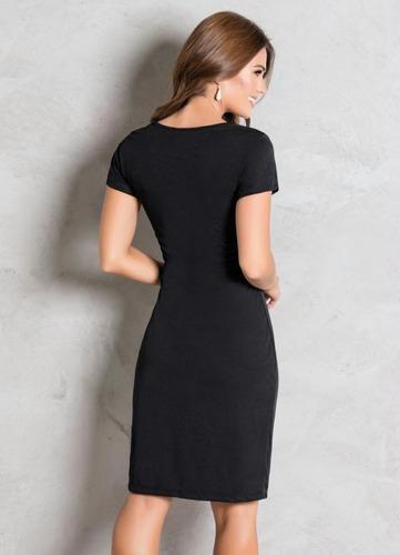vestido tubinho festa moda evangélica midi preto justo