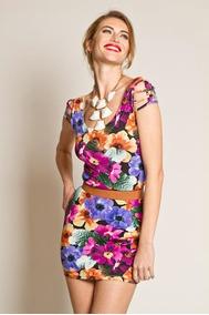 c26410923 Vestido Estampa De Flor Aberto - Vestidos Casuais Femininas Violeta ...