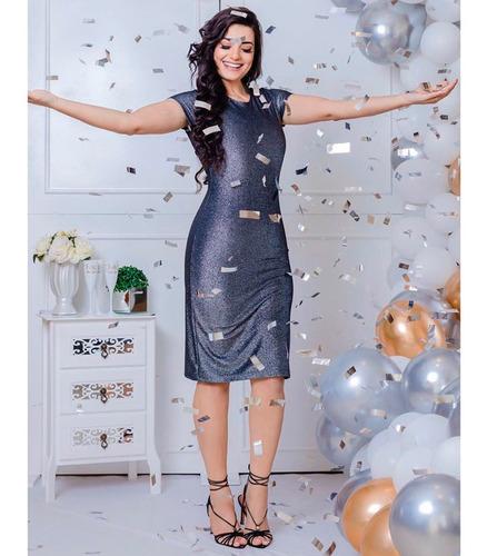 vestido tubinho midi moda evangelica feminina lurex brilho